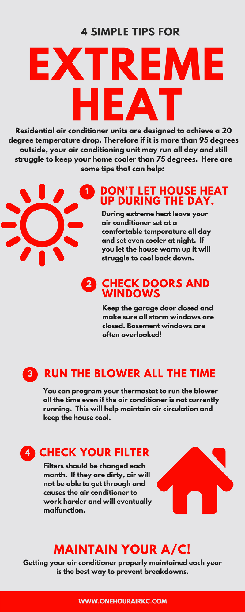 4 simple tips for extreme heat - one hour heating and air